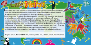 VielfaltCafé Lörrach für alle - Vielfalt Herausforderung und Chance - Thema LSBTTIQ - Film und Diskussion @ Nellie Nashorn, 1. OG, Raum Nashorn